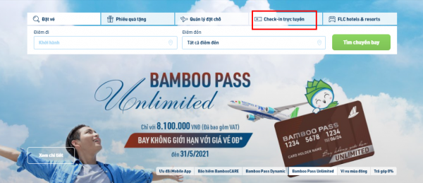 Check-in online Bamboo Airways